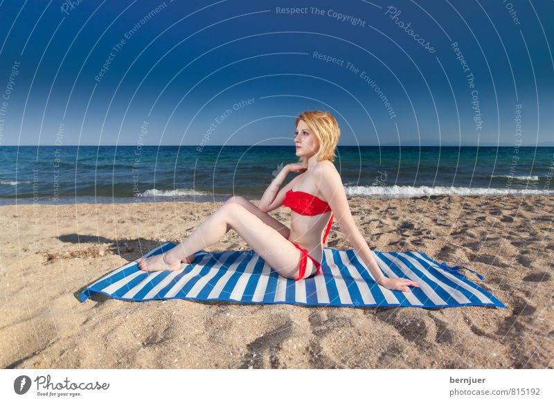 white-blue Lifestyle Style Swimming & Bathing Vacation & Travel Summer vacation Sunbathing Beach Ocean Human being Feminine Young woman Youth (Young adults)