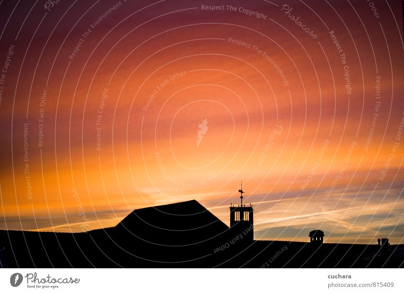 Sunrise with Church Silhouette Landscape Air Sky Cloudless sky Night sky Sunlight Town Downtown Vacation & Travel Kitsch Warmth Orange Pink Red Black Moody