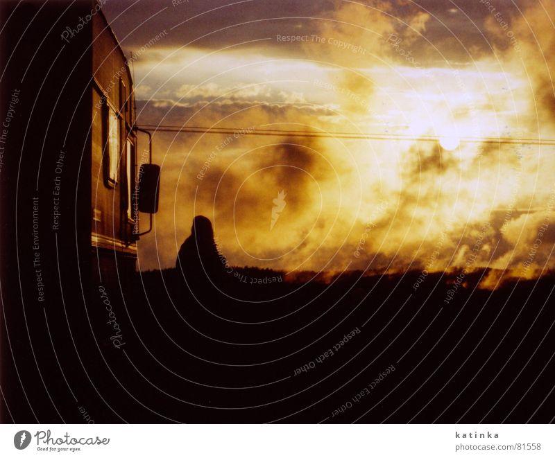 Sunset Evil Mephisto Devil Clouds Caravan Vacation & Travel Camping Summer Dark Light Back-light Evening sun Fog Twilight Freedom Morning Leisure and hobbies
