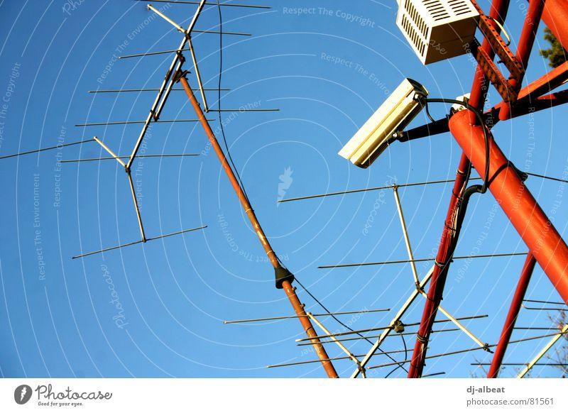 Sky Blue Red Metal Might Camera Listening Video camera Antenna Surveillance Radar station Police state Surveillance camera Surveillance device