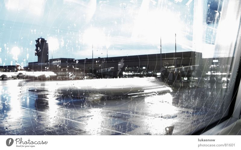 Cold Rain Morning Push Boredom Gray Pallid Reflection Airplane Wet Airport Aviation Wait Movement control tower Window pane Blue Water Check in Drops of water
