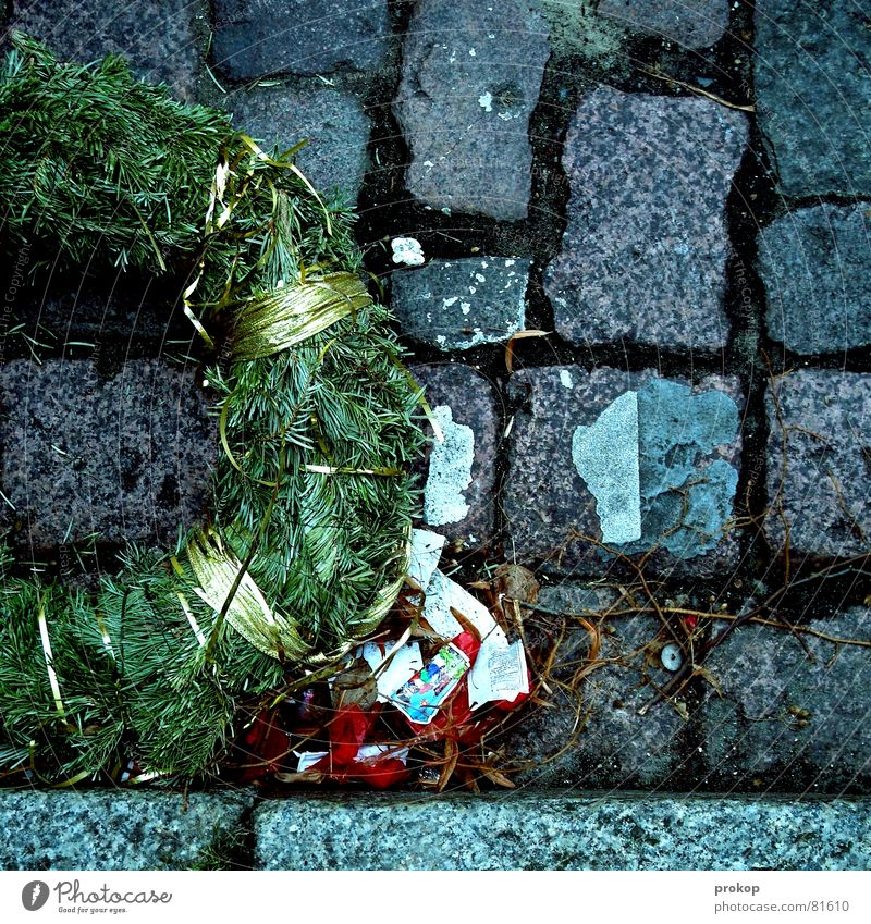 Christmas & Advent Joy Life Feasts & Celebrations Lie Grief End New Year's Eve Fir tree Firecracker Cobblestones Alcoholic drinks Distress Concern Past Completed
