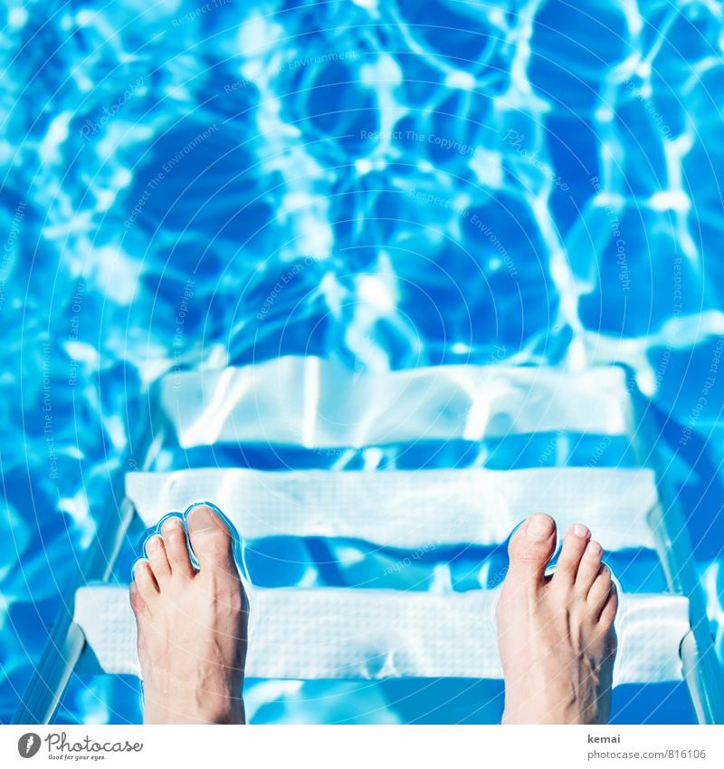 Human being Vacation & Travel Blue Summer Life Bright Feet Leisure and hobbies Glittering Stairs Waves Tourism Stand Swimming pool Summer vacation Ladder