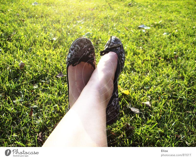 ballerinas Beautiful Skin Nail polish Summer Sunbathing Woman Adults Legs Feet Spring Beautiful weather Warmth Grass Park Meadow Footwear Bow Soft Green