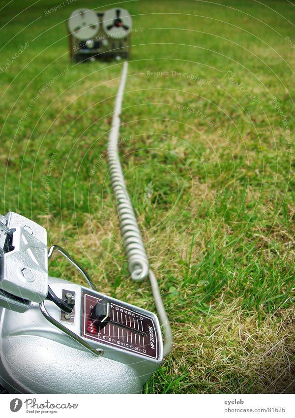 Green Summer Joy Grass Garden Music Technology Lawn Cable Stop Media Concert Silver Headphones Audio tape Tape cassette