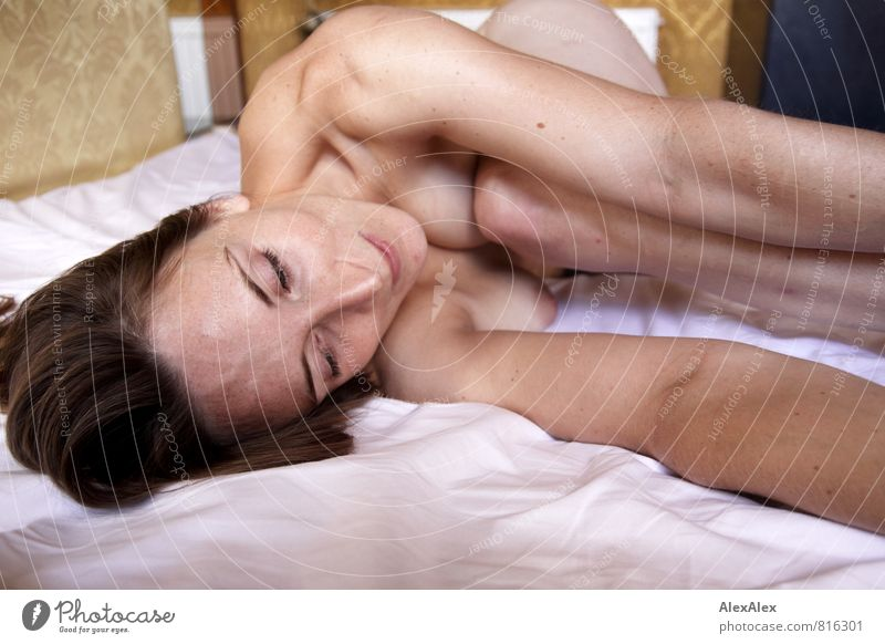 Parallel world behind the window Young woman Youth (Young adults) Skin Breasts Arm Face Freckles Shoulder 18 - 30 years Adults Naked Brunette Long-haired Sheet