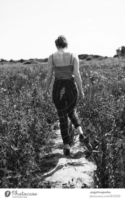 Woman Beautiful Summer Sun Warmth Lanes & trails Movement Field Walking