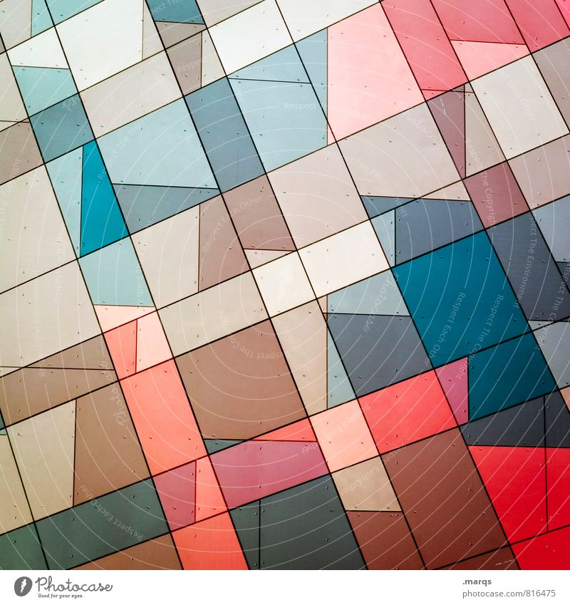 Individual Style Design Facade Line Mosaic Esthetic Sharp-edged Hip & trendy Uniqueness Modern Crazy Blue Brown Red Colour Arrangement Irritation