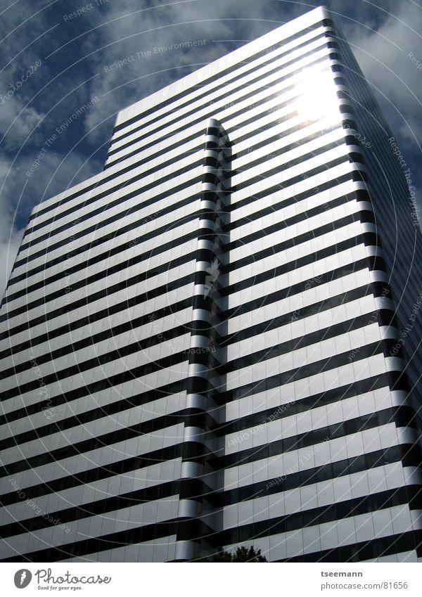 Sky Sun Blue City House (Residential Structure) Black Clouds Window Building High-rise Modern USA Stripe Mirror Skyline Silver