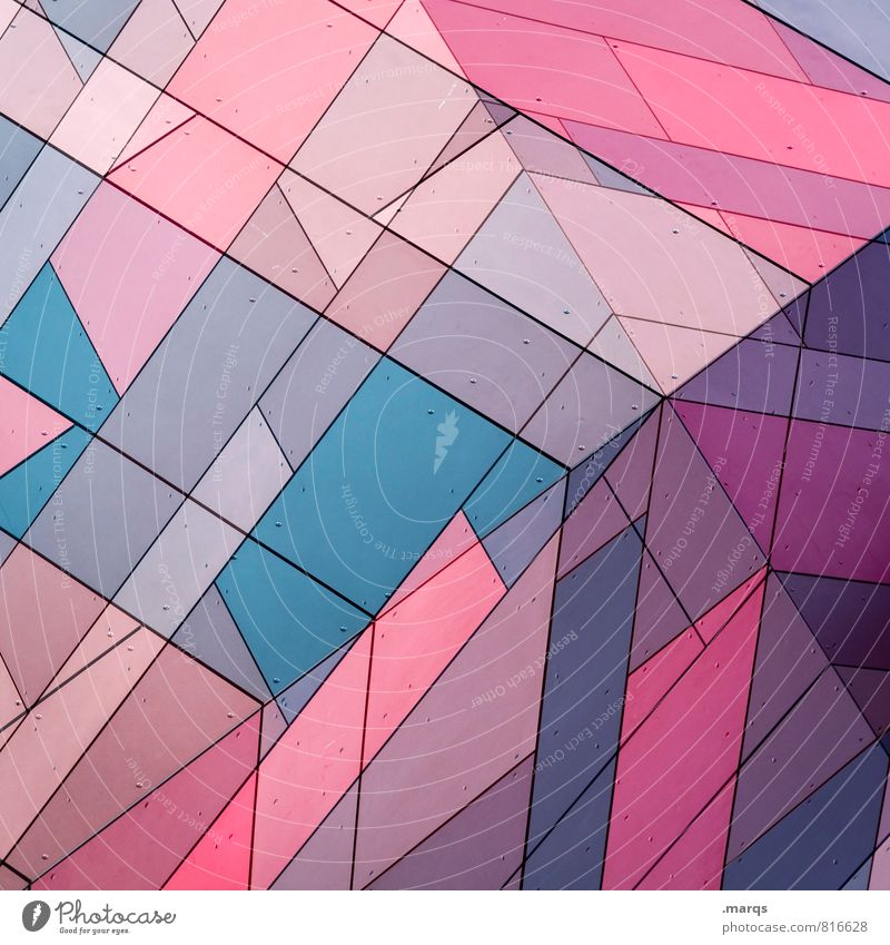 Blue Colour Wall (building) Style Wall (barrier) Exceptional Facade Line Design Pink Elegant Modern Arrangement Uniqueness Cool (slang) Stripe