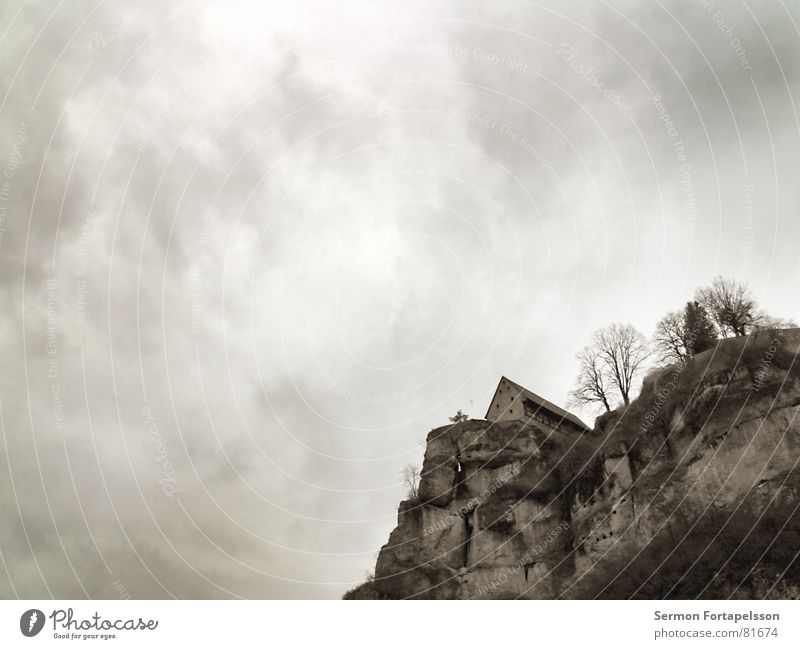 contemporary witnesses Franconian Switzerland Windowsill Clouds House (Residential Structure) Tree Dark Dreary Hard Loneliness Wall (barrier) Masonry Ruin
