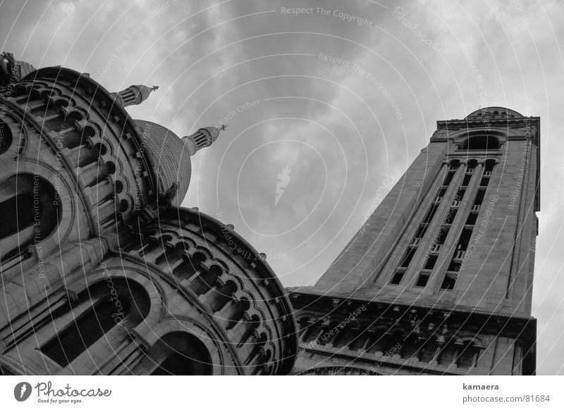 Sacré-Coeur Paris Perspective Threat Deities Allah Tall House of worship Tower Black & white photo Upward God