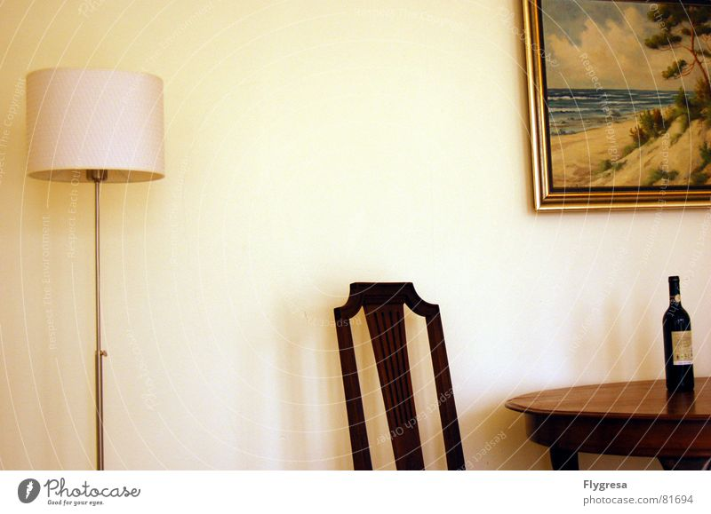 Loneliness Calm Nutrition Lamp Table Chair Image Wine Painting and drawing (object) Bottle Living room Snapshot Still Life Villa House (Residential Structure) Country house