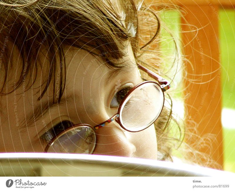 Child Girl Green Eyes Garden Hair and hairstyles Think Brown Small Glass Table Eyeglasses Education Concentrate Watchfulness Kindergarten