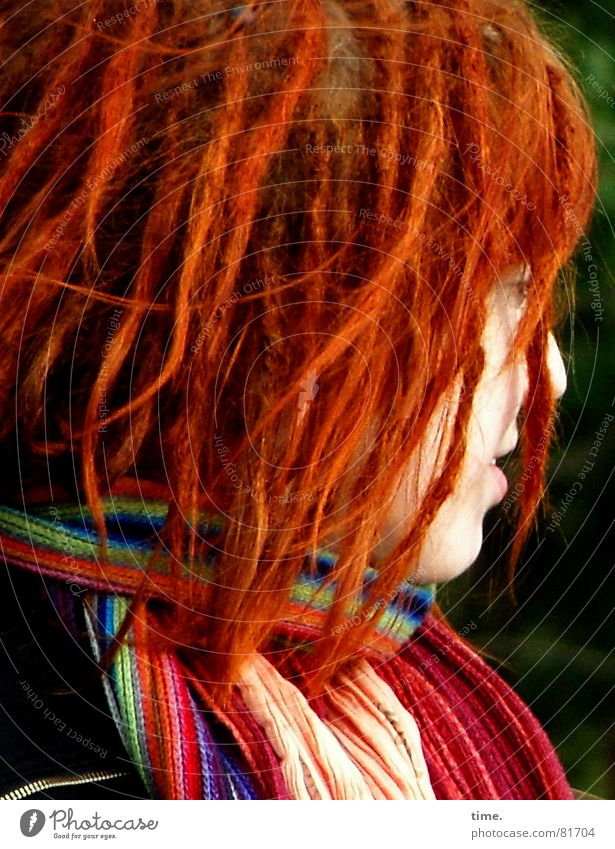 Youth (Young adults) Blue Green Beautiful Red Colour Head Hair and hairstyles Young woman Club Curl Scarf Red-haired Bodypainting Dreadlocks Gaudy