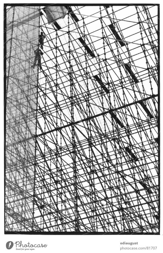 Human being Sky Berlin Above Architecture Construction site Scaffold Structural engineering