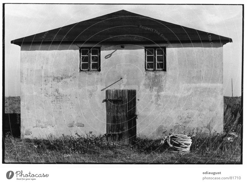 the face of the house Hiddensee House (Residential Structure) Window Architecture Shadow Door Black & white photo fishing house