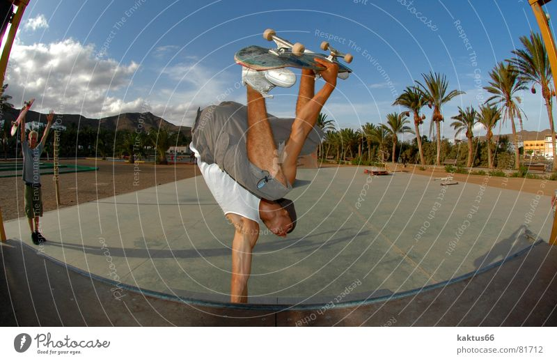 handplant Palm tree Ocean Asphalt Brown Air Extreme Freak Park Skateboard Trick Vacation & Travel Jump Handstand Stunt Skateboarding Live Salto Fisheye Sports