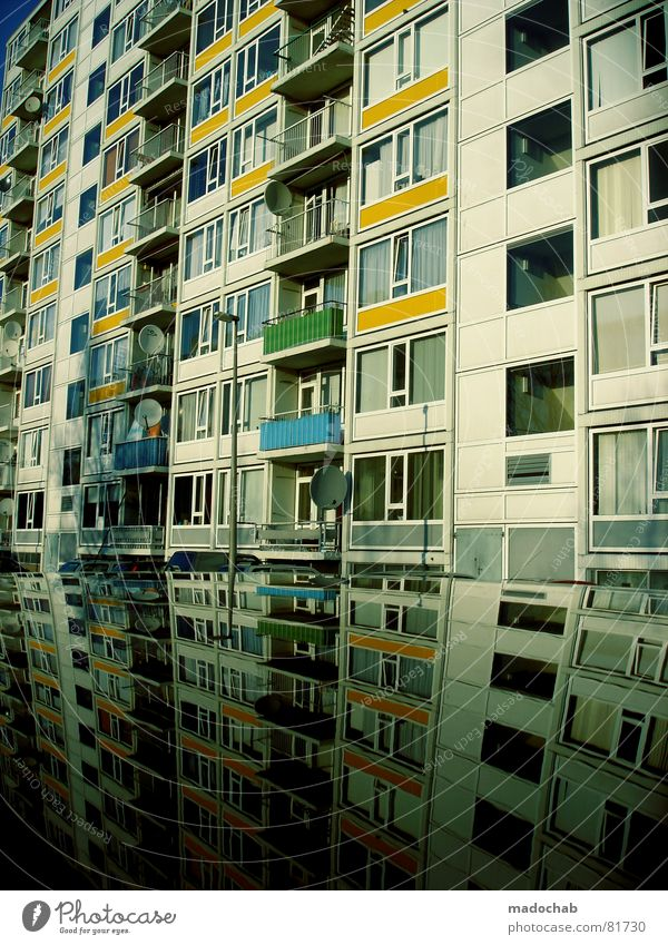 food center Really Fog Wet Autumn House (Residential Structure) High-rise Building Material Window Live Block Concrete Story Gloomy Dark Passion Mirror Landlord