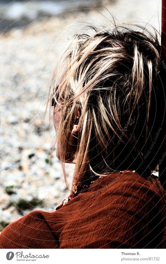 Woman Ocean Red Beach Emotions Hair and hairstyles Head Stone Lake Brown Coast Blonde Wind Gale Lady Sunbathing