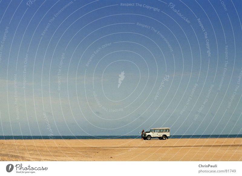 Sky Blue Ocean Loneliness Far-off places Sand Car Lake Horizon Transport Multiple Desert Motor vehicle Africa Vantage point Doomed