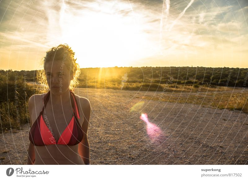 sunbath Human being Feminine Woman Adults Body Head Hair and hairstyles Face 18 - 30 years Youth (Young adults) Culture Youth culture Sunrise Sunset Sunlight