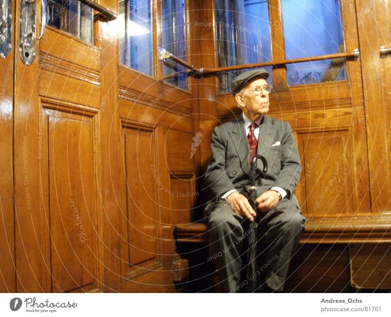 Old Man Elevator Lisbon Think Senior citizen Human being Technology