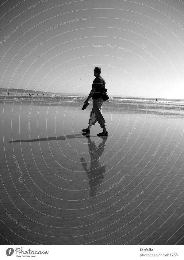 The Shadow Beach Reflection Loneliness 3 Coast man alone lonely Black & white photo