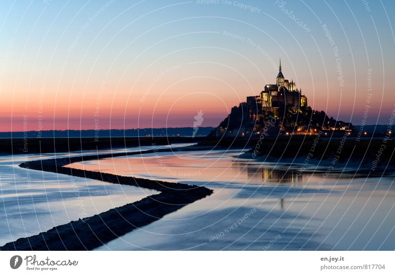 Mont Saint Michel Vacation & Travel Tourism Trip Sightseeing Ocean Island Night sky Horizon Sunrise Sunset Hill Mont St.Michel France Europe Church Castle