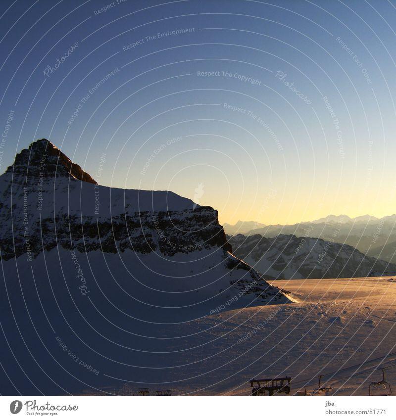 Sky Blue Beautiful Winter Far-off places Snow Mountain Horizon Fresh New Point Alps Peak Snowscape Glacier Blue sky