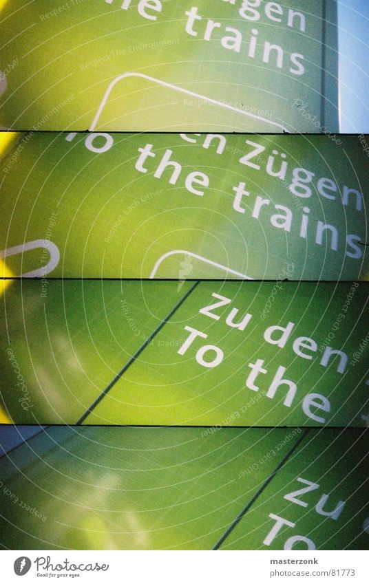 train-sign Green Railroad Typography Lomography Train station Signage Signs and labeling