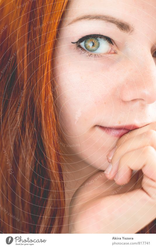 anybody's window Feminine Young woman Youth (Young adults) Face 1 Human being 18 - 30 years Adults Red-haired Long-haired Observe Touch Brown Green Orange Black