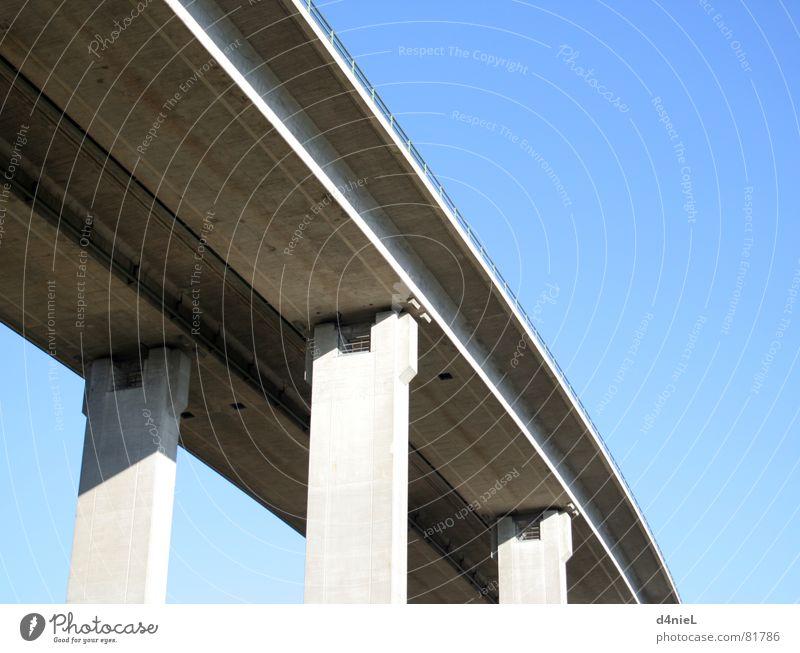 sky bridge Concrete Gray Column Calm Transport Sky blue Truck Logistics Bridge Blue Shadow Beautiful weather Broadcasting traffic