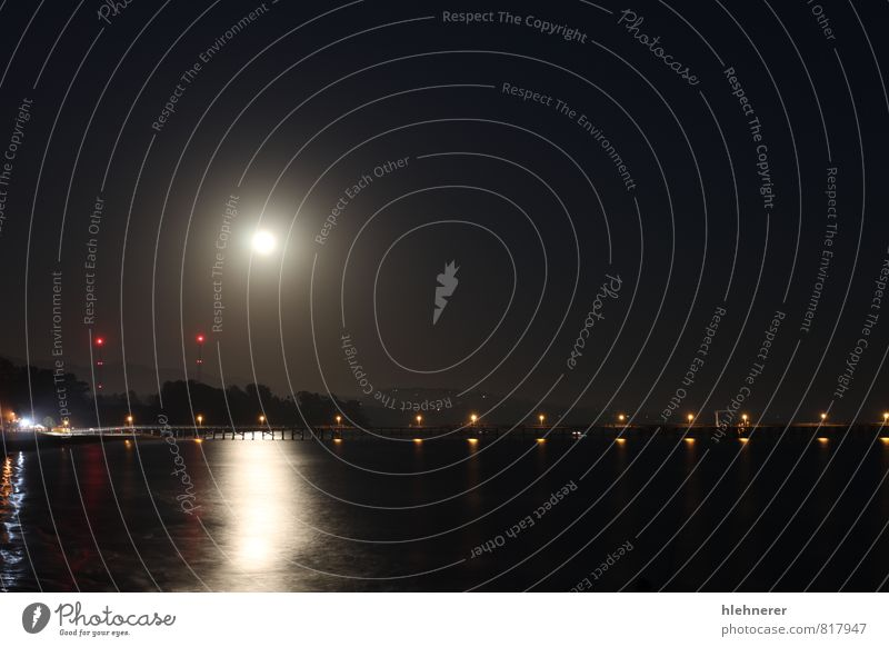 Full Moon Rise Sky Nature Ocean Landscape Dark Black Bright Park Waves Gold Mysterious Sphere Santa Claus Jetty Moon Surrealism