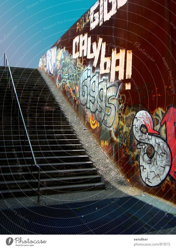 stairway to wedding Concrete Traffic infrastructure Stairs Rust Metal Upward Sky Berlin Loneliness Shadow graffiti wall park