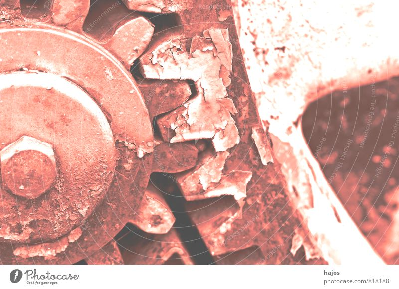 Gear wheels in VSCO retro style Tool Machinery Gear unit Museum Rust Old Historic Broken Retro Pink Nostalgia Past Gearwheel tooth Filter Vintage Reaction