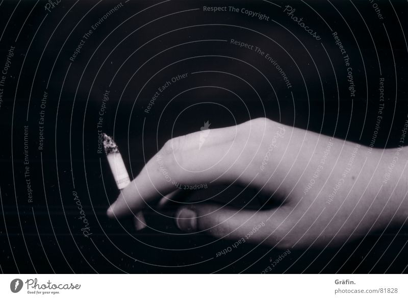 smoking fingers Black Hand Cigarette Fingers Smoking Ways of dying Black & white photo Death Ashes Health hazard Unhealthy Harmful to health Women`s hand