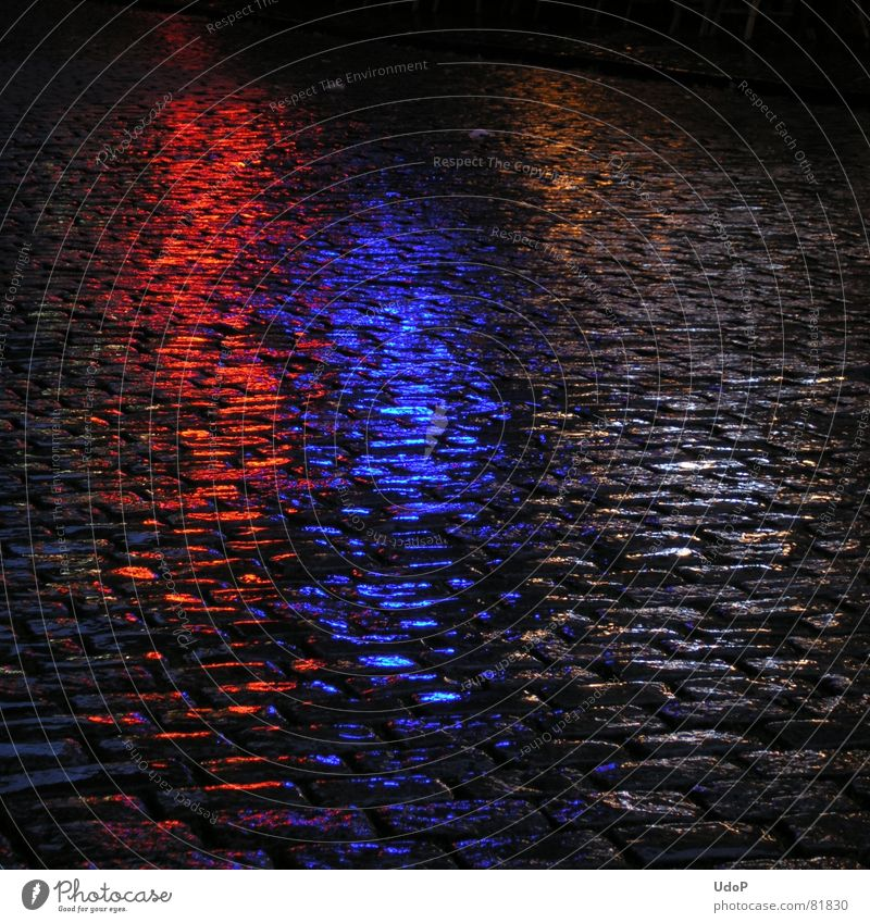 Dutch Colours Night Light Wet Red Black Netherlands Reflection Pavement Rain Damp Traffic infrastructure Blue abundant rain Flare Paving stone