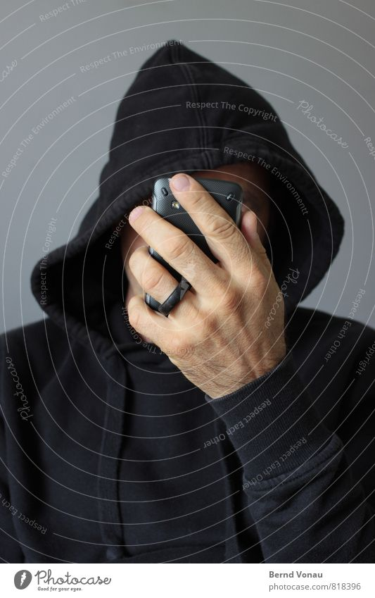 Human being Man Hand Black Adults Gray Brown Masculine Technology Telephone Internet Hide Anonymous Hooded (clothing) Online PDA