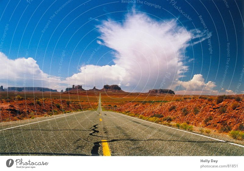 Sky Blue Summer Clouds Far-off places Street Dream Lanes & trails Orange Large Might USA Desert Fantastic Thief 2006