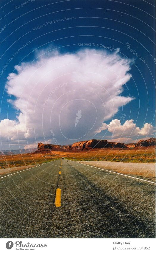 Sky Blue Summer Clouds Far-off places Street Dream Lanes & trails Orange Large Might USA Desert Fantastic Thief Arizona