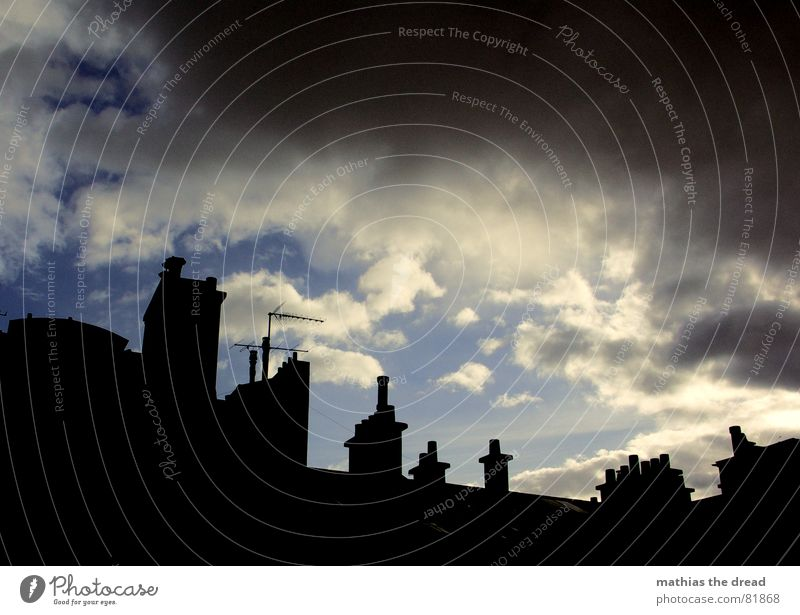 rolling thunderstorm Storm clouds Chimney House (Residential Structure) Building Facade Roof Shadow play Old building Antenna Clouds Threat Dark Gray Round Rain