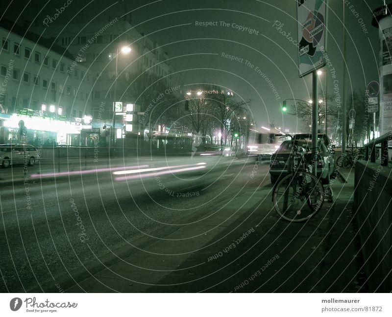 reeperbahn Fog Multicoloured Speed Gloomy Grief Loneliness Long exposure Distress Hamburg Germany forward Deserted Sadness