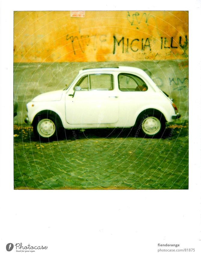 mifiati Wall (barrier) Small Number plate Car driver Wall (building) Header brick spaghetti shell Mafia Italy fiat 500 graffiti Pope mason's ledge wall wreath