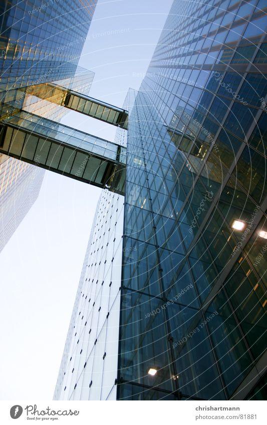 skyscraper Munich Modern Window pane Reflection highlight towers Glass Blue Sky bridge architecture Looking
