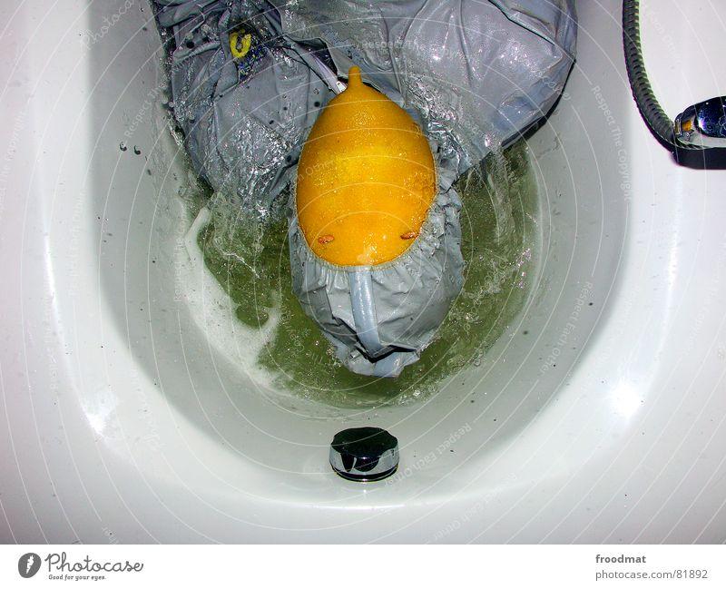 grau™ - swimming fun Bathroom Gray Yellow Gray-yellow Suit Red Rubber Art Stupid Futile Hazard-free Crazy Funny Joy Bathtub Damp Fluid Foam Arts and crafts