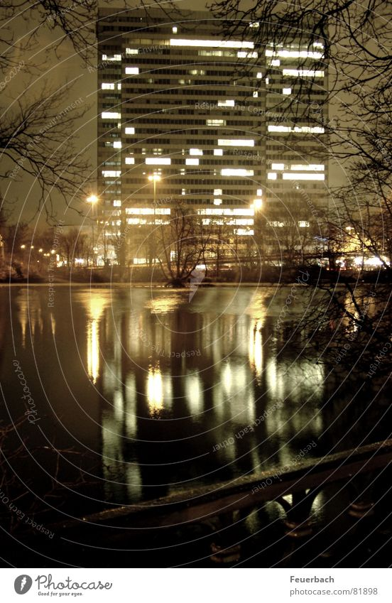 Water City Winter Dark Window Garden Building Lake Park Work and employment Lighting Glittering High-rise Manmade structures Mirror Pond