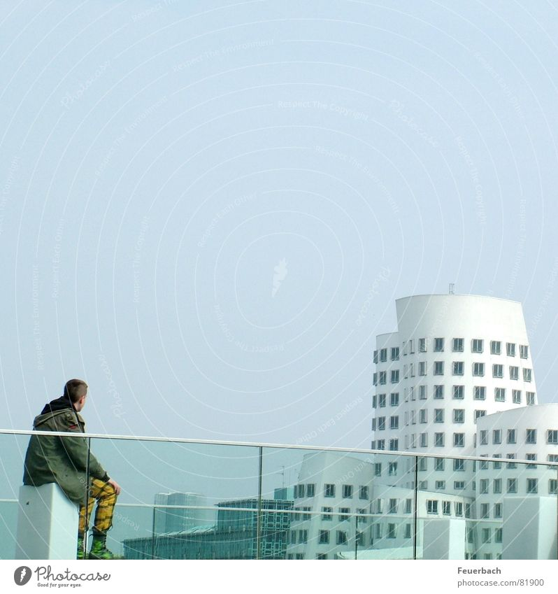 Human being Sky Duesseldorf Youth (Young adults) City Loneliness House (Residential Structure) Window Building Sit Masculine Perspective Construction site Romance Manmade structures Harbour