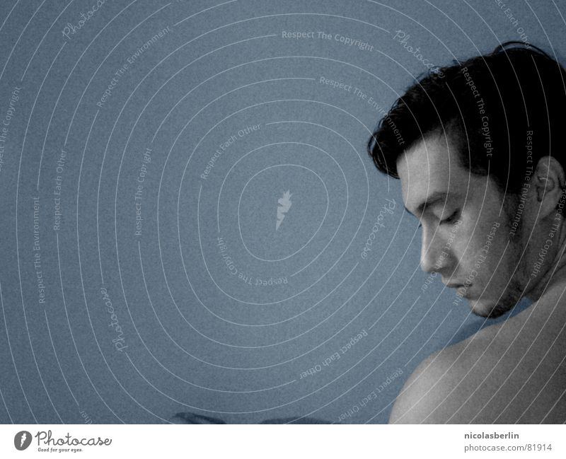 Man Blue White Black Calm Face Sadness Contentment Back Grief Peace Thought