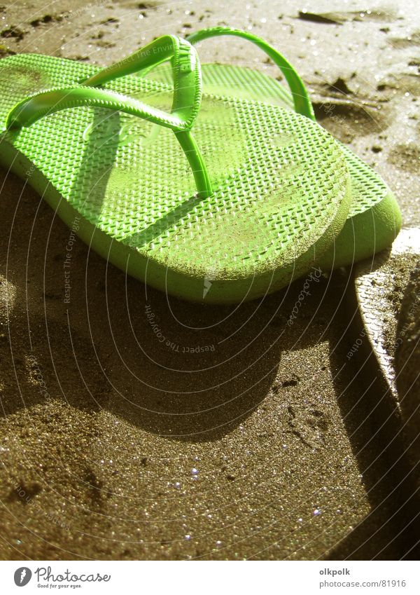 crass green flip flops Flip-flops Summer Beach Ocean Vacation & Travel Green Sandal Footwear Sun Serene Calm Relaxation Shuffle Bathing place Beige Sunbathing